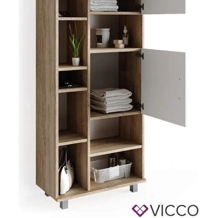 vicco meuble de salle de bain ilias 190 x 60 cm blanc sonoma etagere haute armoire etagere de salle de bain