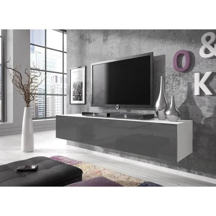 meuble tv suspendu 160 cm corps mat blanc porte