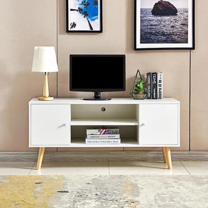 meuble tv scandinave decor blanc pieds en bois e