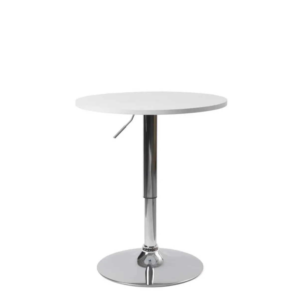 kayelles table de bar design hauteur reglable plateau mdf ronde 60cm blanc