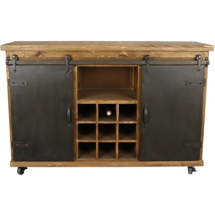 bahut de cuisine meuble de rangement buffet vinotheque industriel en acier et bois 38x74x114cm 74 marron noir