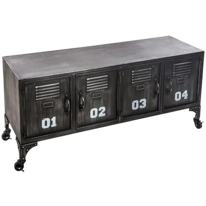 atmosphera meuble metal 4 portes sevin 119 x 35