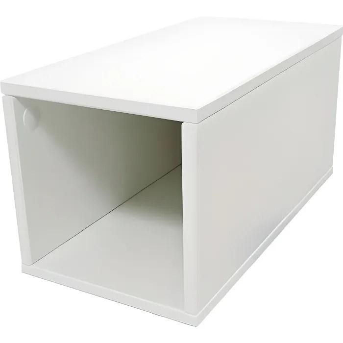 cube de rangement bois largeur 25 cm couleur blanc dimensions 25x50