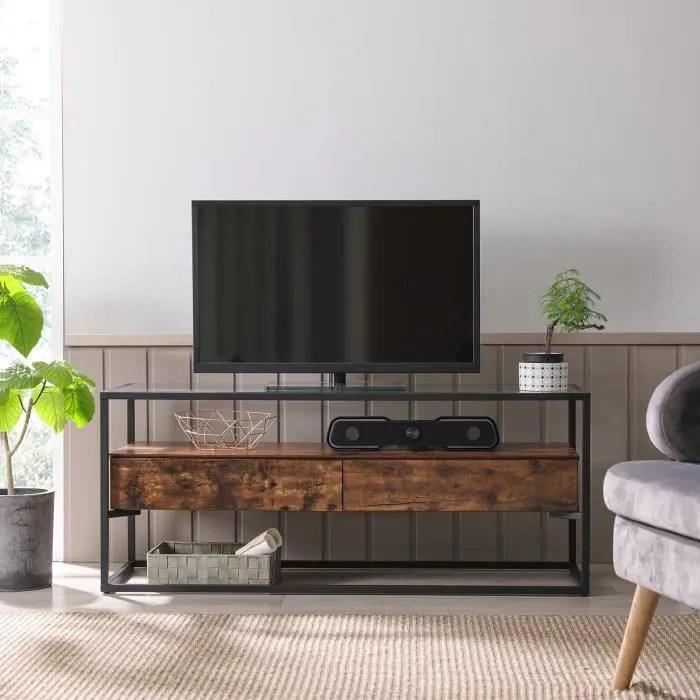 vasagle meuble tv avec 2 tiroirs