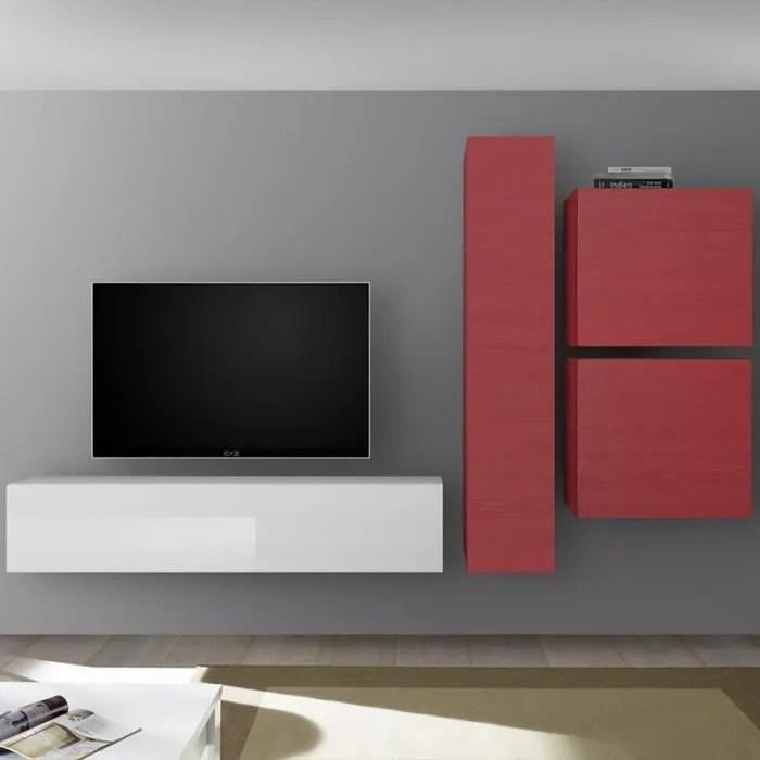 meuble tv design mural rouge et blanc laque punta rouge l 260 x p 30 x h 180