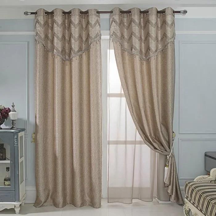 paire rideaux et voilages avec cantonniere taupe 1
