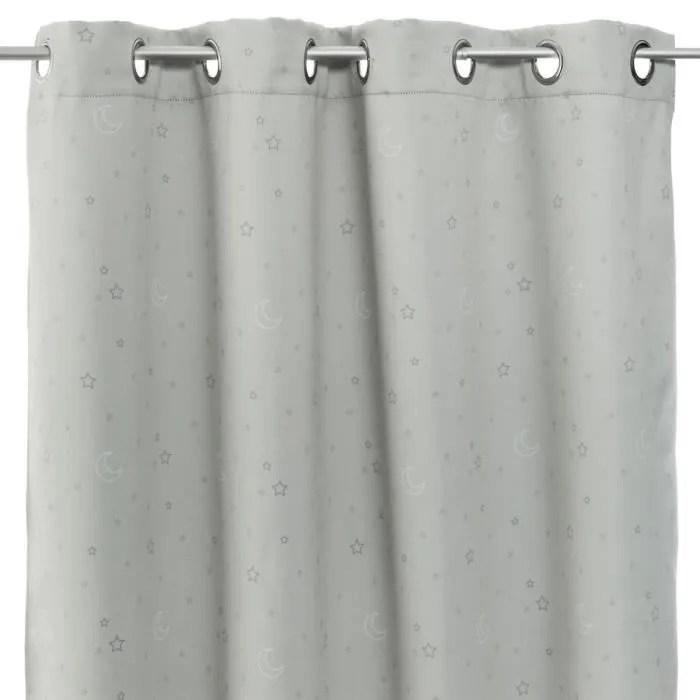 atmosphera rideau occultant gris imprime etoile