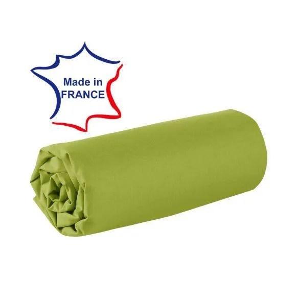 Drap Housse 120 X 190 Cm 100 Coton 57 Fils Made In France Vert Cdiscount Maison