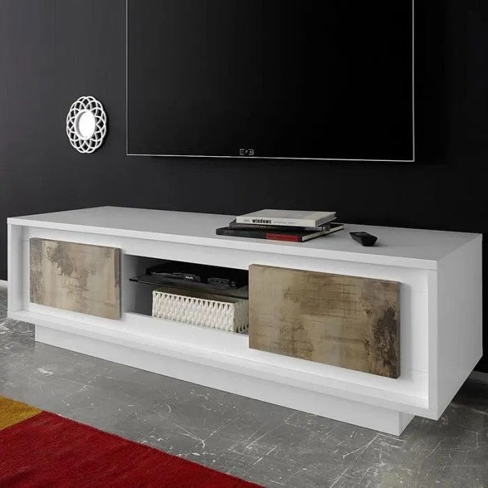 meuble tv moderne blanc laque mat et couleur bois