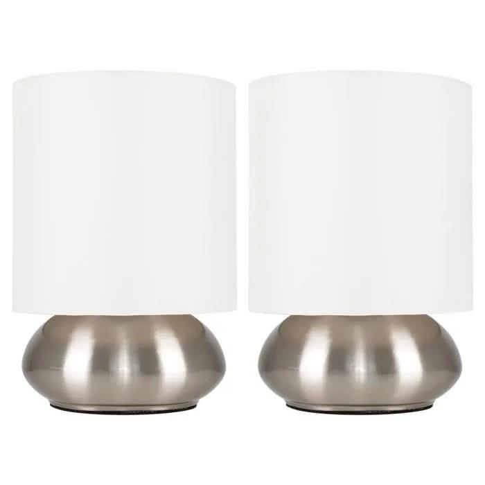 paire lampes de table chevet touch moderne variateur touch integre chrome brosse nickel avec abat jour en tissu creme