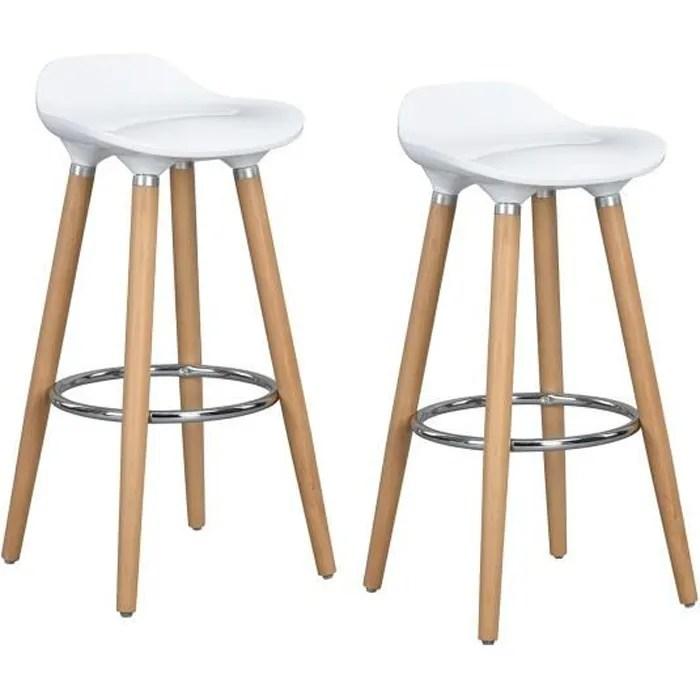 furniturer lot de 2 tabouret de bar scandinave cha