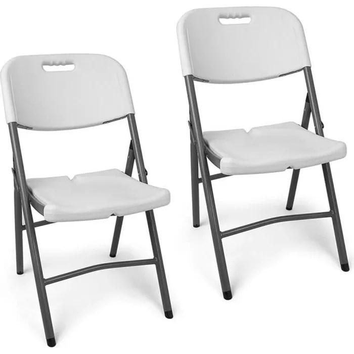 chaises pliantes confort en resine pour l interieur amp l exterieur lot de 2