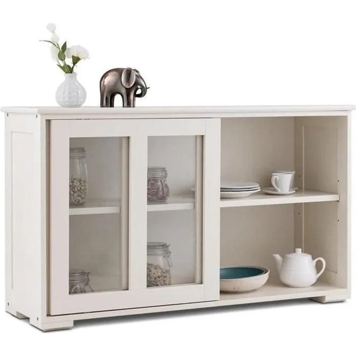 costway buffet de cuisine meuble de cuisine pour rangement vaisselier avec porte coulissante en verre trempe en bois beige