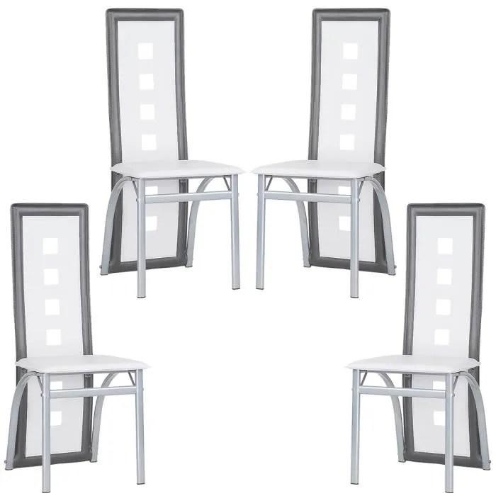 luxs lot de 4 chaises salle a manger gris blanc en simili et inox solide et confortable hauteur d assise 43 cm