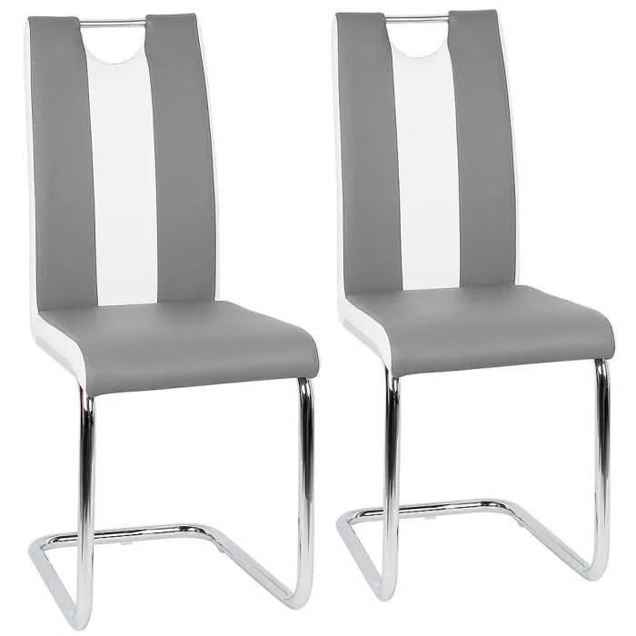 lot de 2 chaises de salle a manger simili gris e