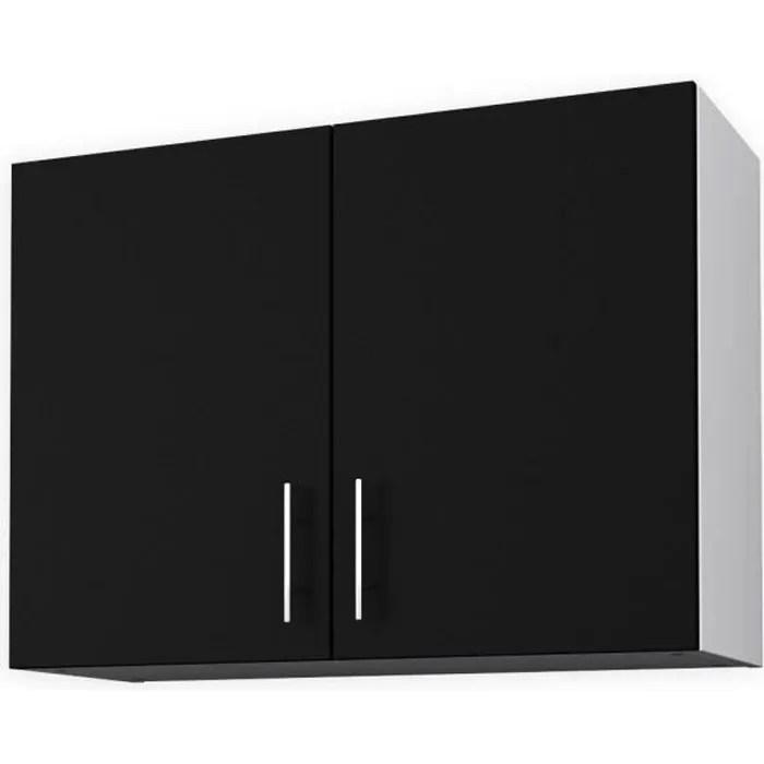 obi meuble haut de cuisine l 80 cm noir mat