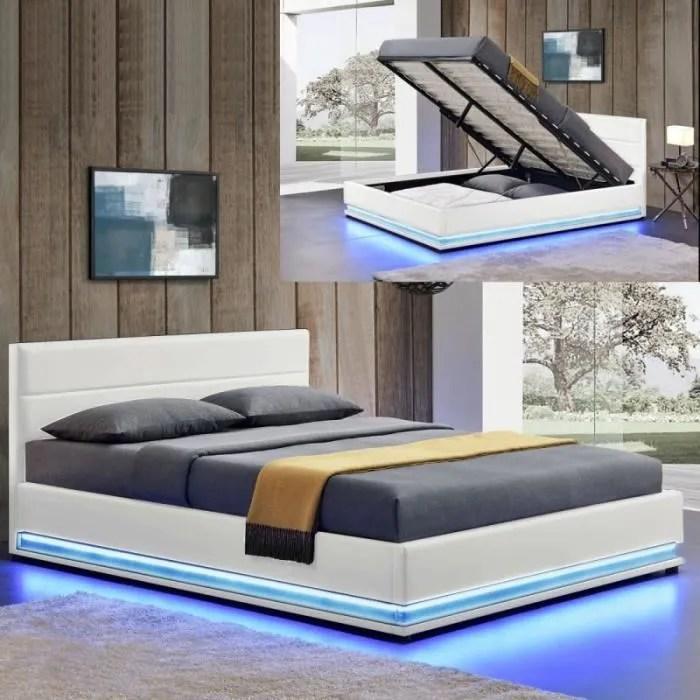 lit led avec coffre de rangement ava 160x200 blanc