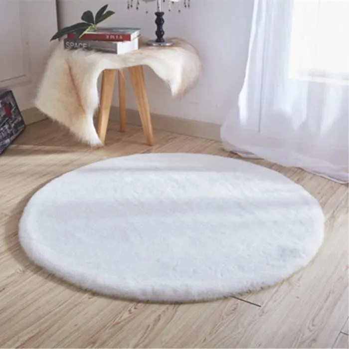 tapis rond 80cm imitation lapin