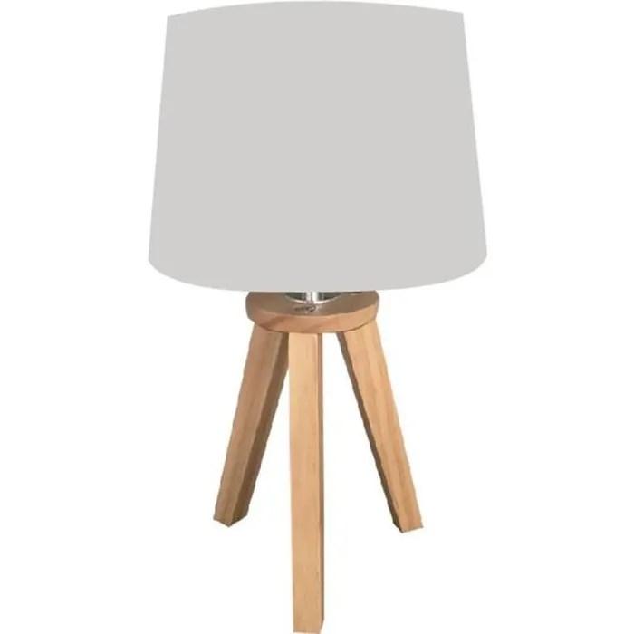 lampe scandinave 3 pieds en bois gris