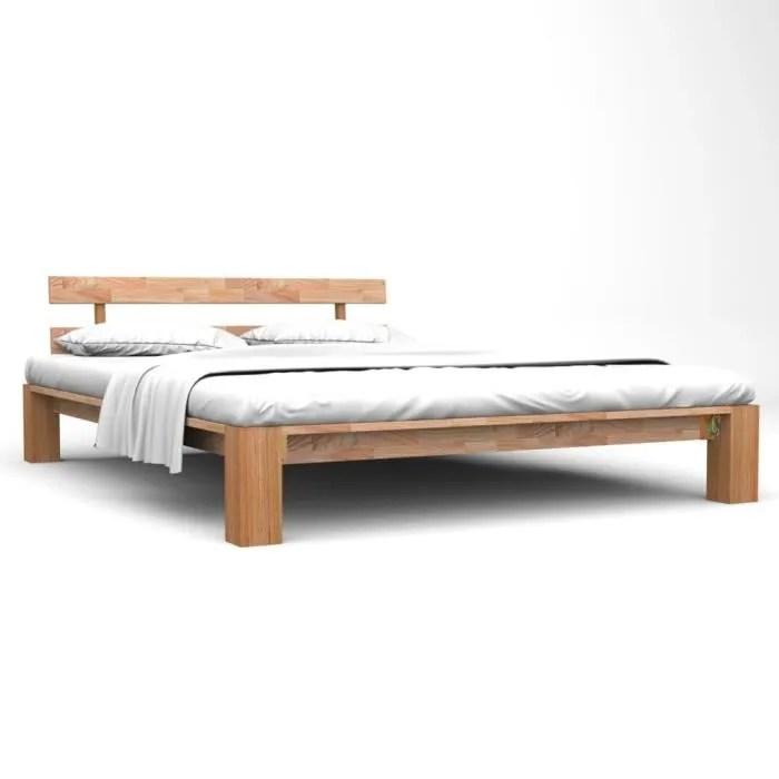 lit queen size moderne bois de chene massif brut 160 200 cm