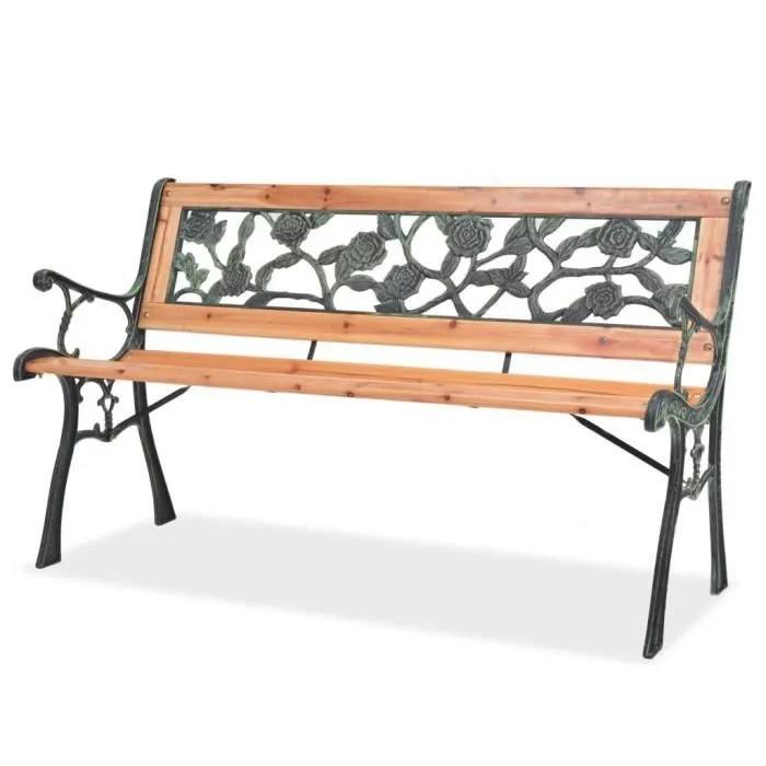 ingshop c banc de jardin 122 cm bois fer forge et dossier en pvc