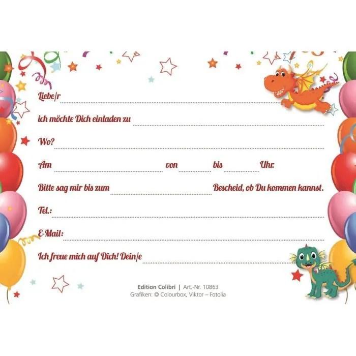 lot de 10 cartes d invitation pour anniversaire d