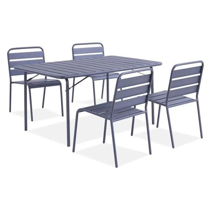 ensemble table chaises de jardin en metal