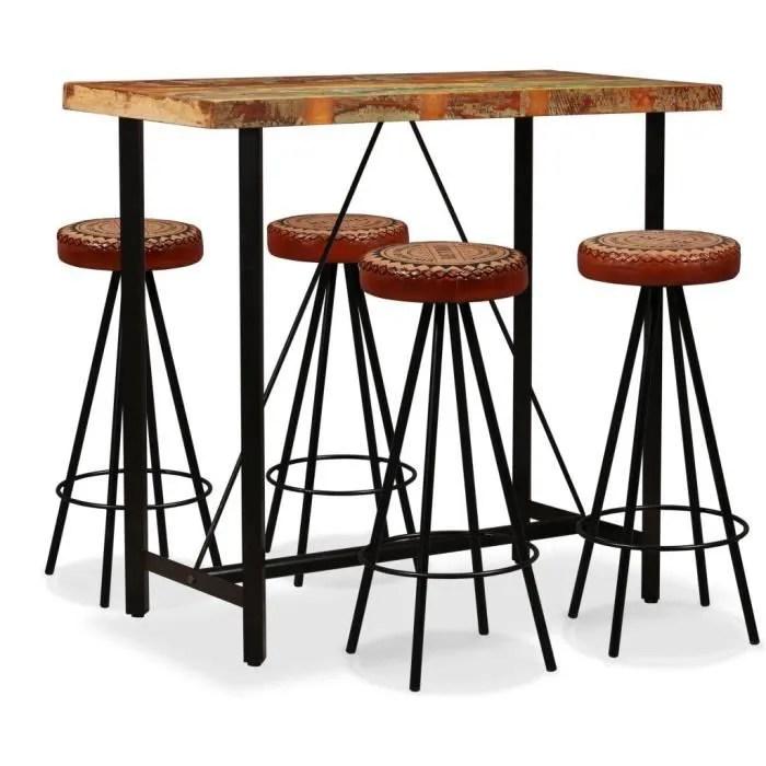 set de 1 table 4 tabourets ensemble de bar 5 pcs table haute cuisine mange debout bois de recuperation cuir veritable et toile