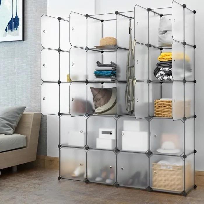 Langria 20 Cube Armoire De Chambre Penderie Modulable Meuble Etagere De Rangement 147x37x183cm Avec Tige De Suspension Pour Vetement Cdiscount Maison