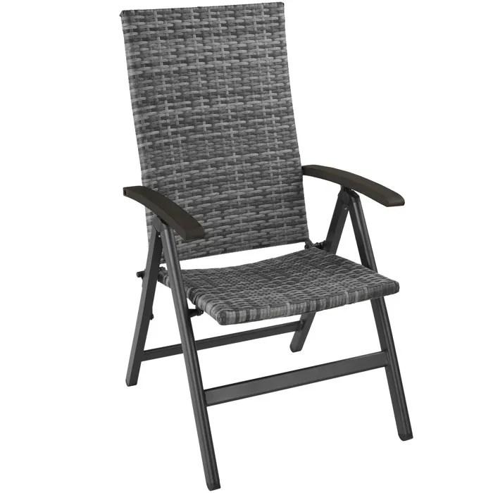 tectake chaise de jardin pliante reglable en alumi