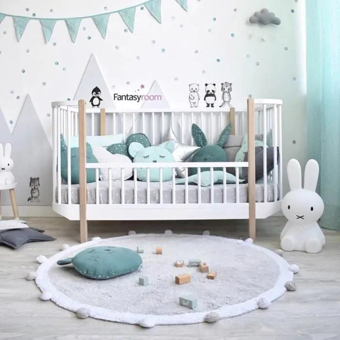 tapis chambre bebe gris enfant antiderapante ronde