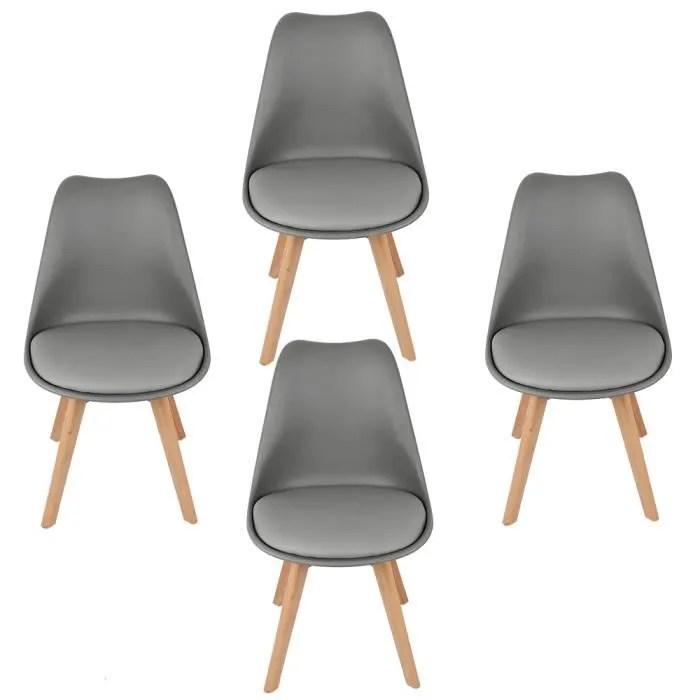 lot de 4 chaises scandinave avec coussin super qua