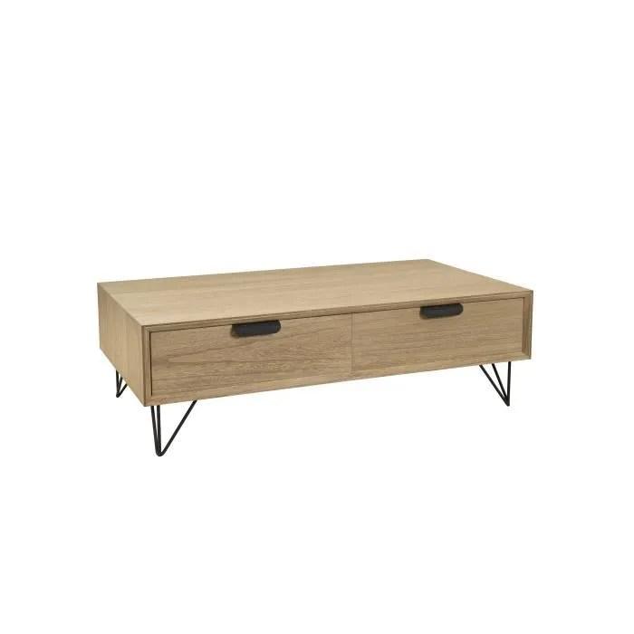 table basse scandinave decor chene et placage paulownia l 110 x l 60 cm