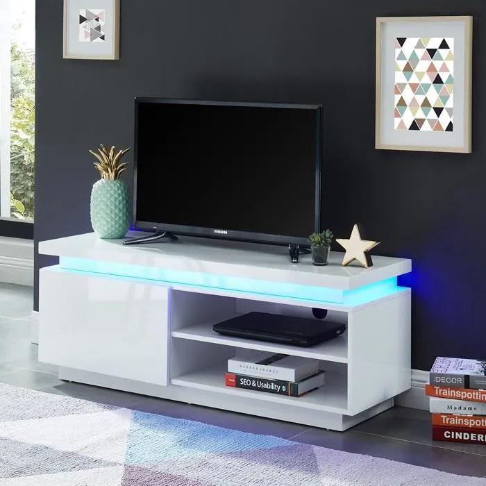 meuble tv led 120 cm blanc laque