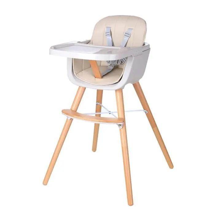 chaise haute bebe convertible 2 en 1 pour 5 mois 6 ans forme x stable hauteur reglable repose pieds et plateau champagne