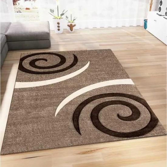 tapis salon motif spirales marron 160x230 cm