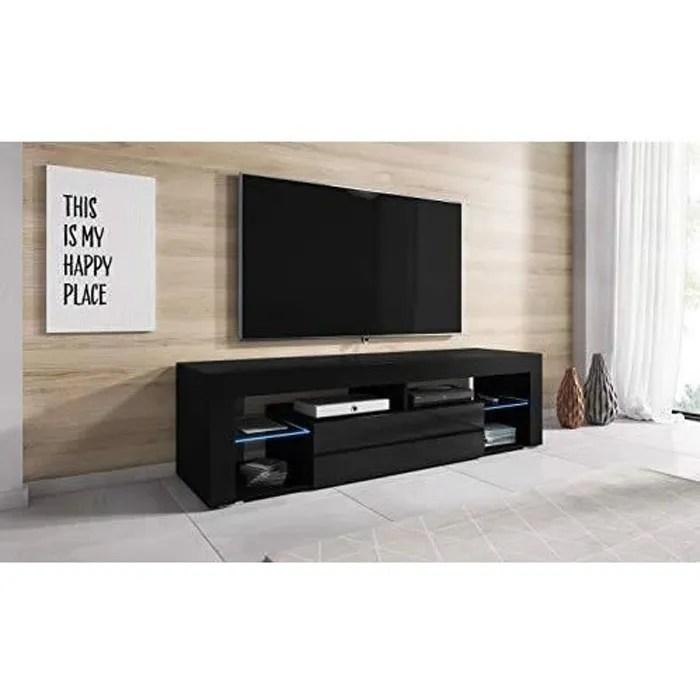 meuble tv noir laque led