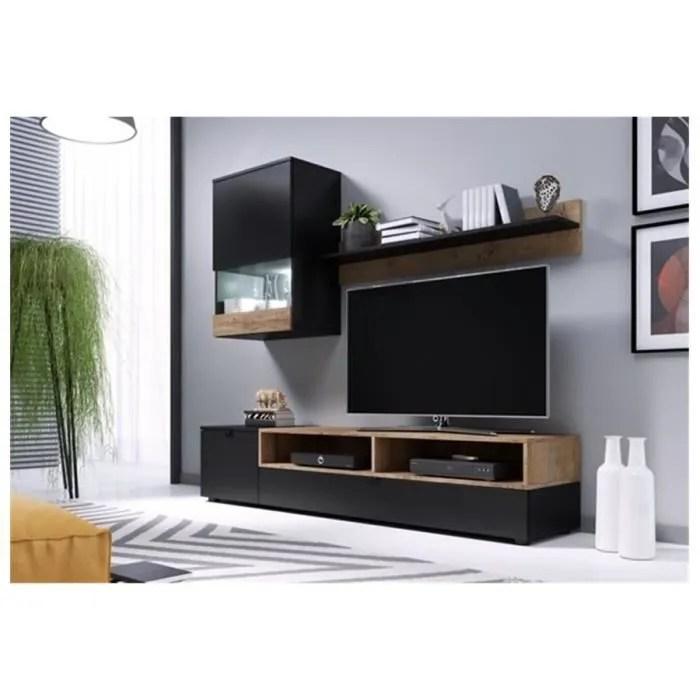 meuble tv design wall noir et bois