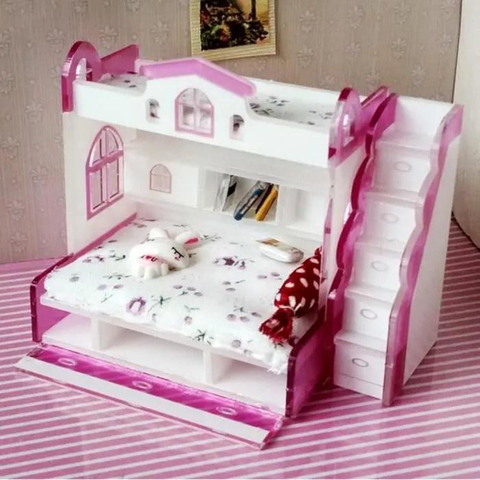 lit superpose avec escalier accessoires de poupees