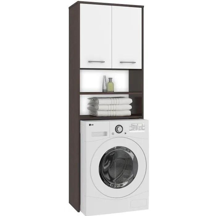 lena meuble pour machine a laver 180x64x30 cm espace de rangement buanderie lave linge salle de bain avec tablettes