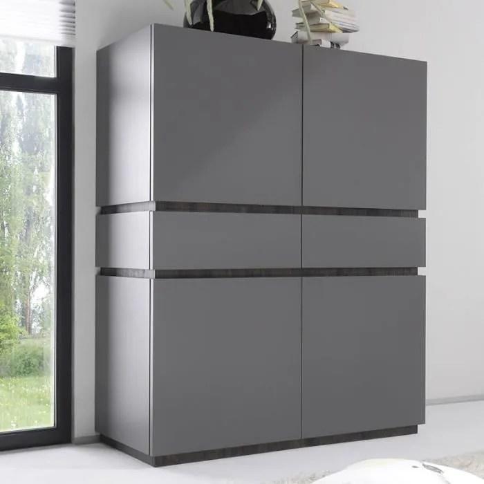 buffet haut design 4 portes 2 tiroirs gris valerona option 2
