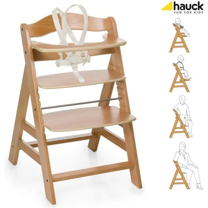Hauck Chaise Haute En Bois Pour Bebe Evolutive Alpha Natural