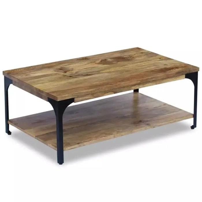table basse avec une etagere au dessous de la table bois de manguier 100 x 60 x 38 cm