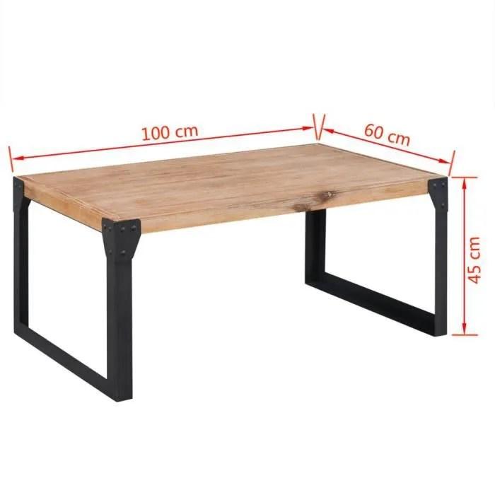 table basse en bois meuble banc tv 100 x 60 x 45 cm