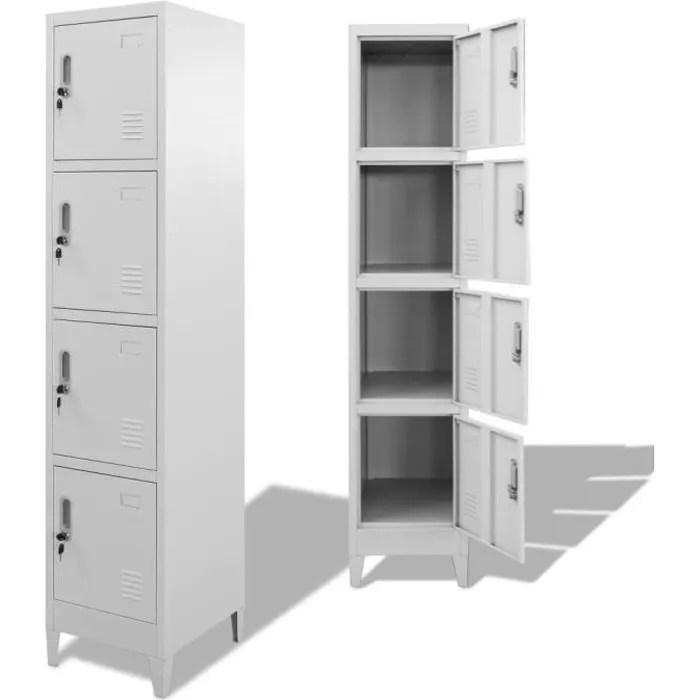 luxueux magnifique armoire a casiers armoires de rangement armoire metallique de bureau avec 4 compartiments 38 x 45 x 180 cm