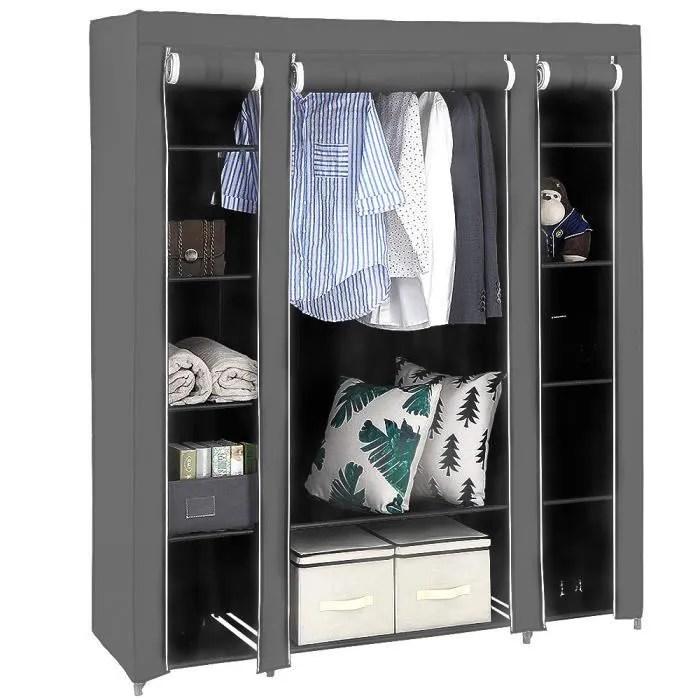 134x43x172cm armoire penderie rangement dressing