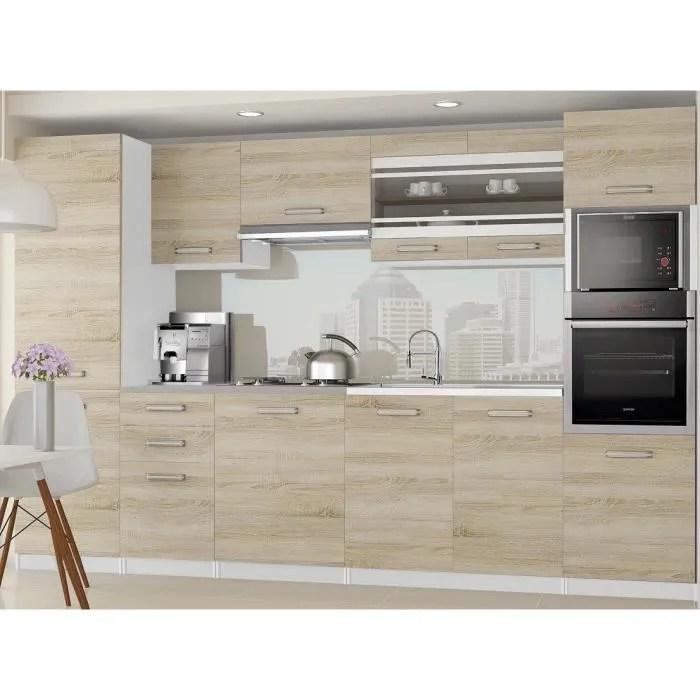 Knox Cuisine Complete Modulaire Lineaire L 300cm 8 Pcs Plan De Travail Inclus Meubles Cuisine Sonoma Gris Cdiscount Maison