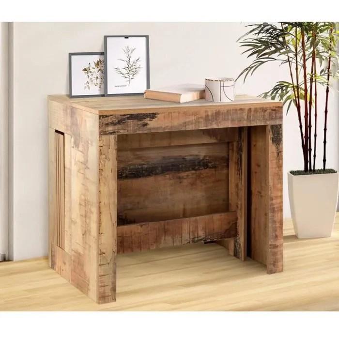 table console extensible 12 couverts longo 90 cm finition erable vintage avec 5 allonges integrees marron mdf inside75