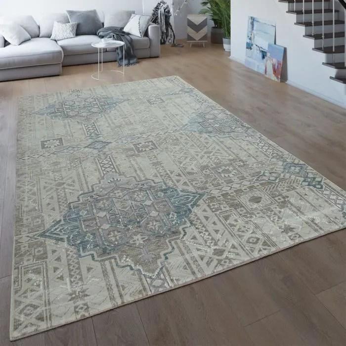 tapis de salon vintage poils ras creme beige design ethnique motif boheme 3d 80x150 cm