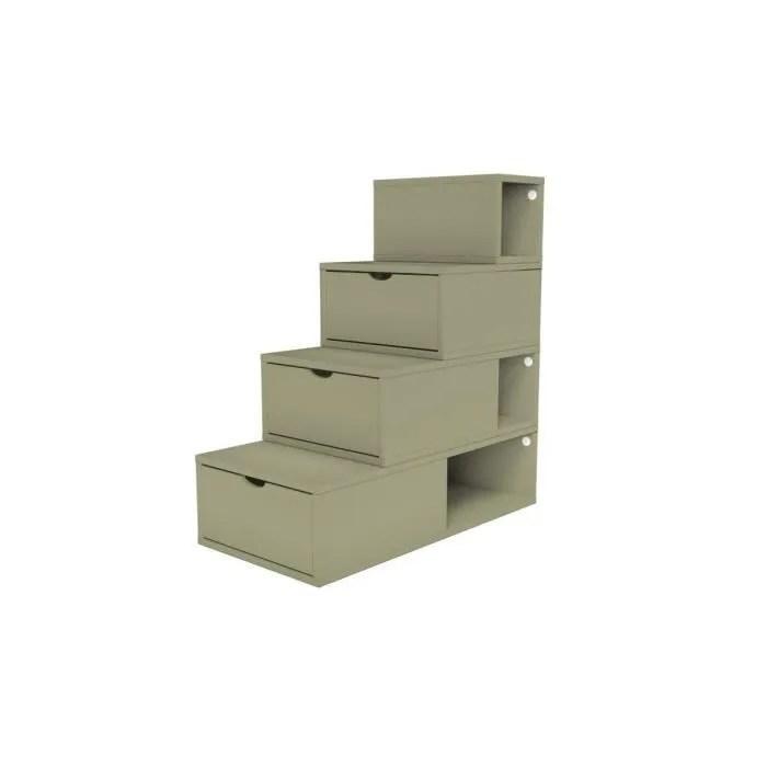 escalier cube de rangement hauteur 100 cm couleur taupe